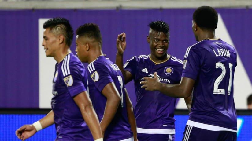 Carlos Rivas and Kyle Larin - Orlando City - Celebrate Goal