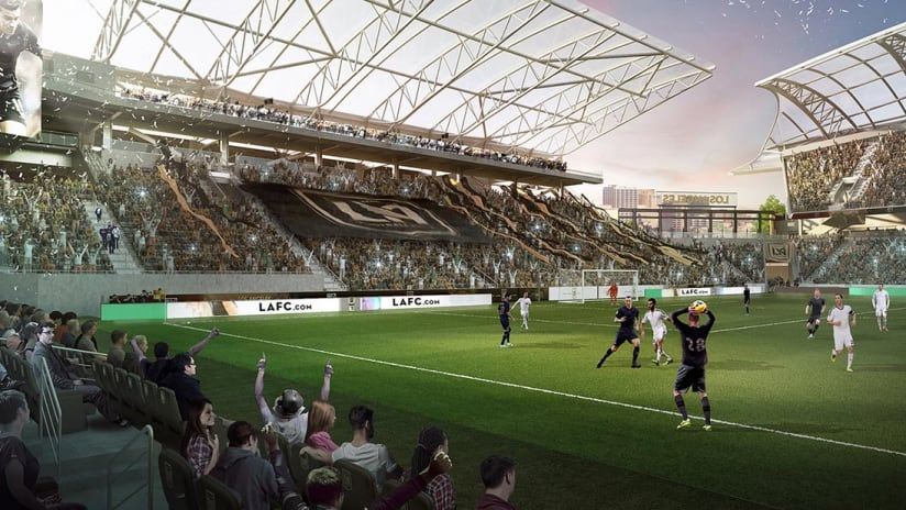 LAFC Banc of California Stadium rendering - view from main stand