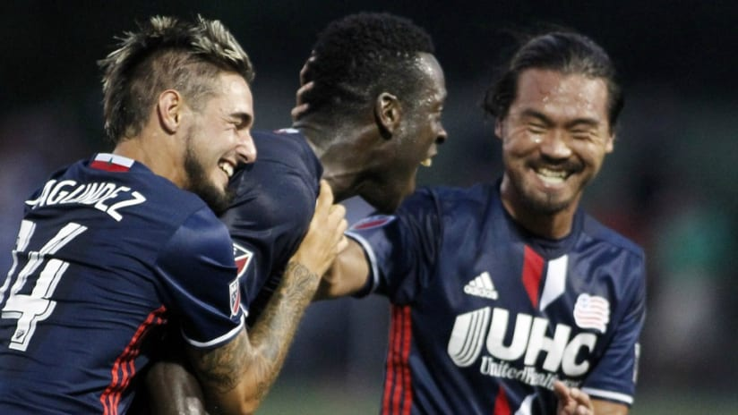 Je-Vaughn Watson celebrates with Revolution teammates - vs. Philadelphia Union in Open Cup - 7/20/16