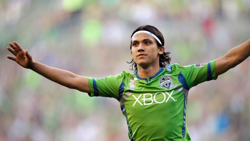 Fredy Montero - Seattle Sounders - arms-wide celebration