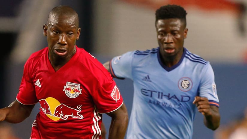 Bradley Wright-Phillips, Ebenezer Ofori - Red Bulls, NYCFC - Close up