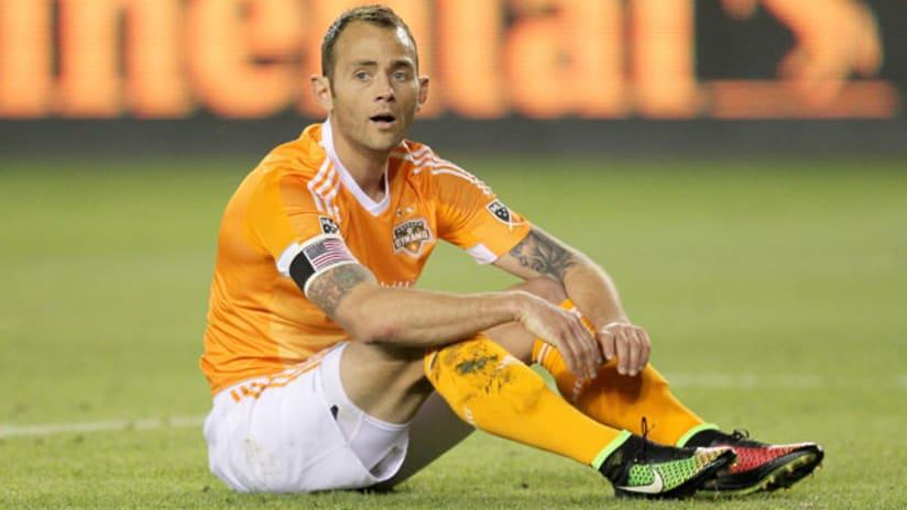 Houston Dynamo midfielder Brad Davis looks displeased
