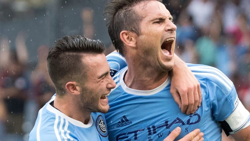 Frank Lampard - Jack Harrison - celebrate a goal for New York City FC - 2016