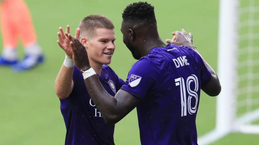 Chris Mueller - Daryl Dike - Orlando City - celebrate a goal