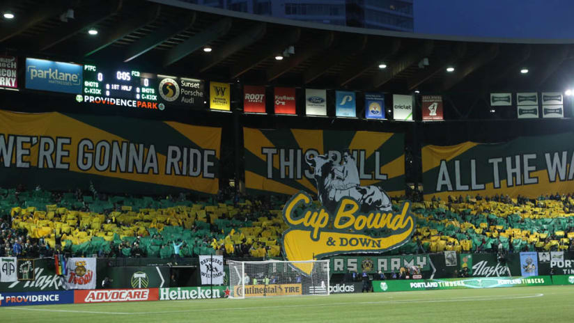 Portland Timbers tifo - MLS Cup Playoffs 2015 - Cup Bound and Down - Providence Park