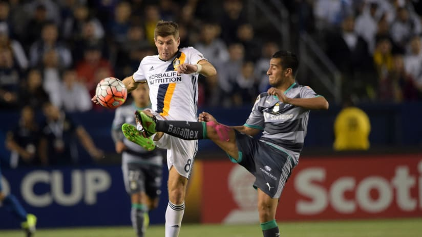 Steven Gerrard of the LA Galaxy vs. Santos Laguna in CONCACAF Champions League CCL action