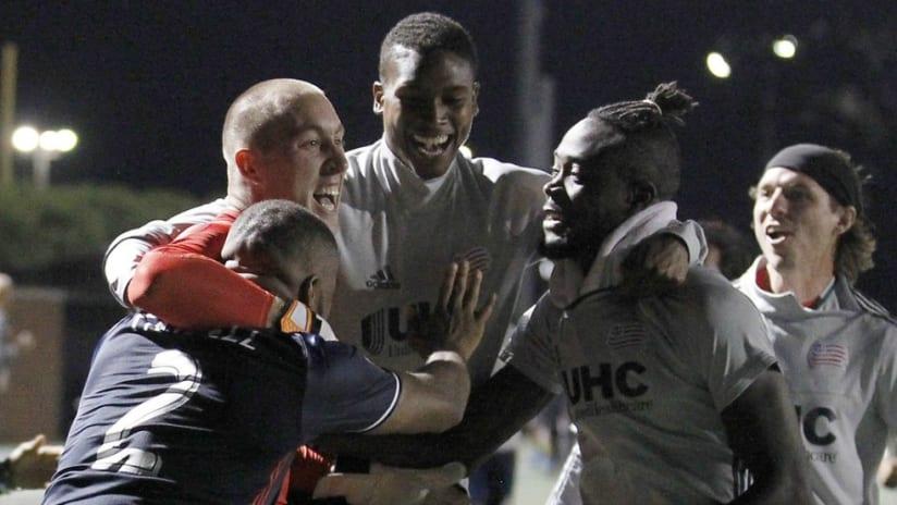 Brad Knighton - New England Revolution goalie celebrates after USOC win - 7/20/16