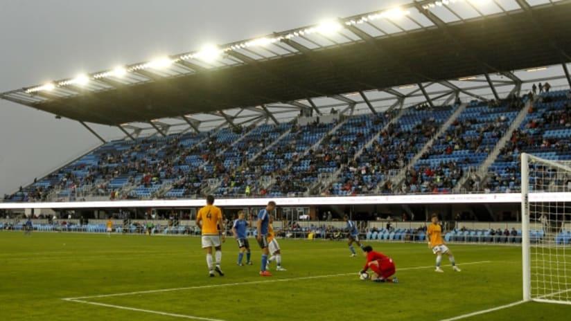 Goalmouth action at Avaya Stadium in first preseason match