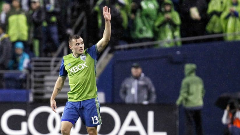 Sounders' Jordan Morris waves to crowd after scoring in Western Conference Championship vs. Colorado - 11/22/16
