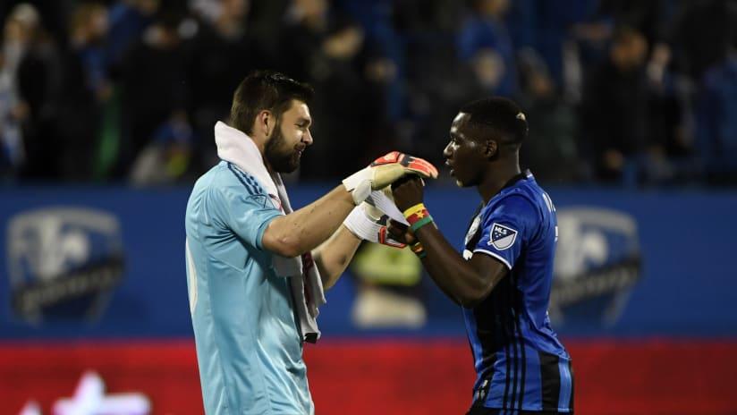 Maxime Crepeau -- high fives -- Ambroise Oyongo