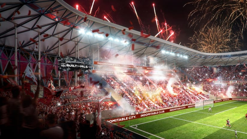 """Sacramento Republic FC - rendering of a """"Hinchada"""" supporters section at new stadium"""