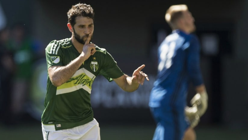 Diego Valeri - Portland Timbers - celebrates a goal vs. Houston - 6/26/16