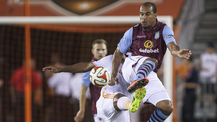 Gabriel Agbonlahor in action for Aston Villa in a friendly at Houston - 9/9/16