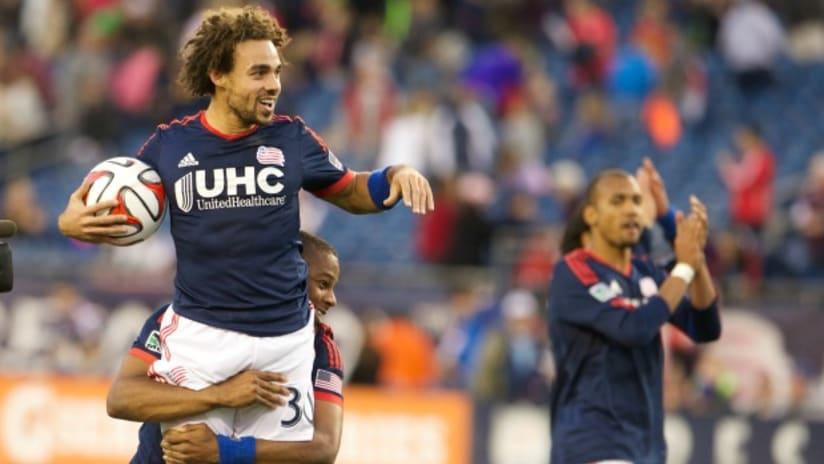 New England Revolution's Kevin Alston celebrates first MLS goal