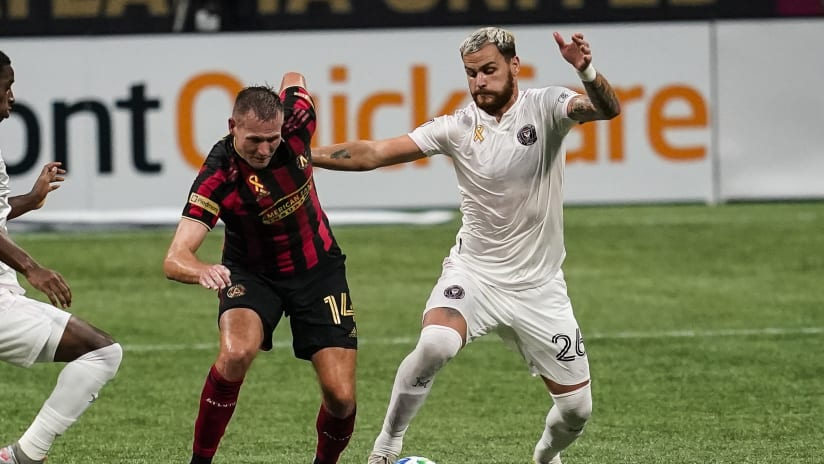 Leandro Gonzalez Pirez on ball- Miami vs. Atlanta - Sept. 19, 2020