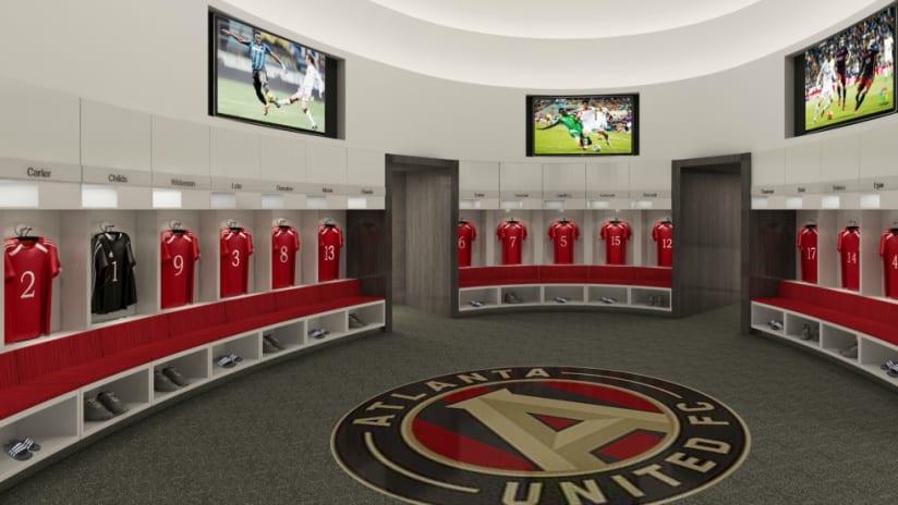 Atlanta United - training facility locker room - rendering
