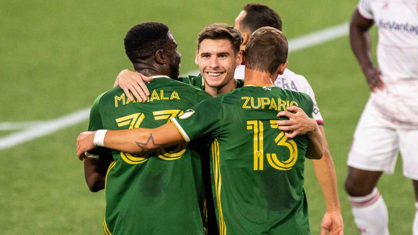Jaroslaw Niezgoda - Portland Timbers - celebrates a goal vs. RSL