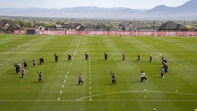 RSL players - kneeling during practice - solidarity