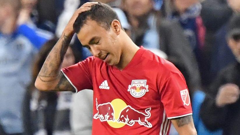 Kaku - New York Red Bulls - reacts after being sent off vs. Sporting KC