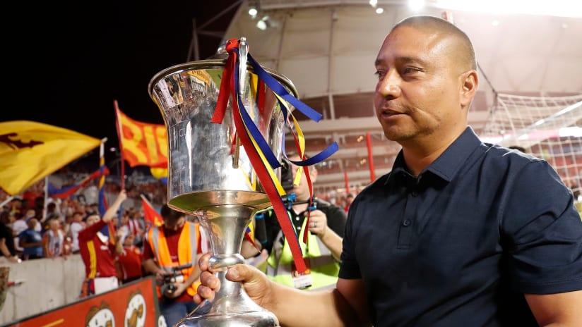 Freddy Juarez with trophy - Real Salt Lake