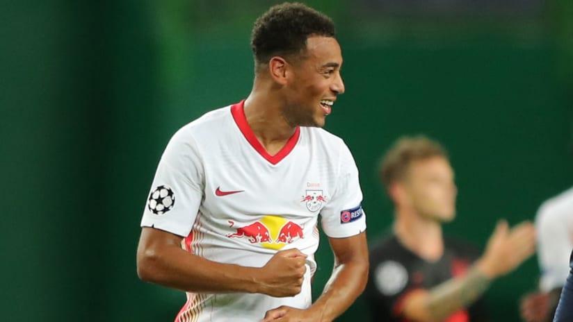 Tyler Adams - RB Leipzig - celebrates game-winner in Champions League