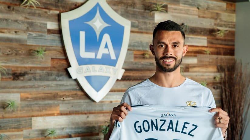 Giancarlo Gonzalez - LA Galaxy - holding jersey