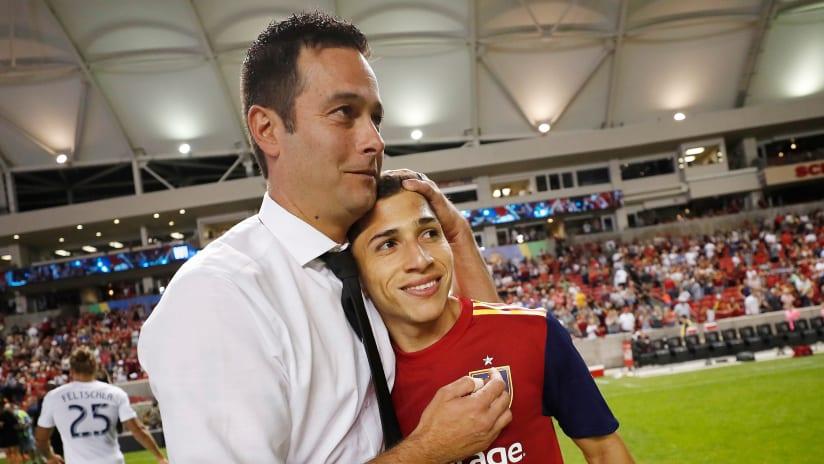 Mike Petke and Jefferson Savarino - Real Salt Lake - hugging