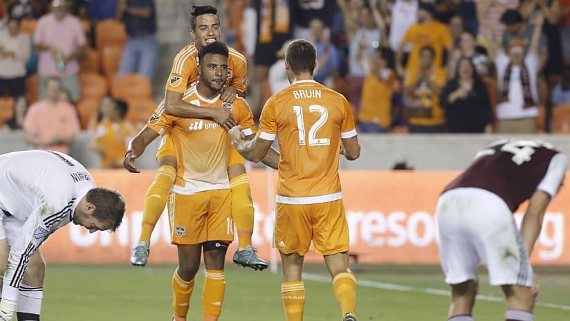 Will Bruin celebrates a Houston Dynamo goal on September 26, 2015