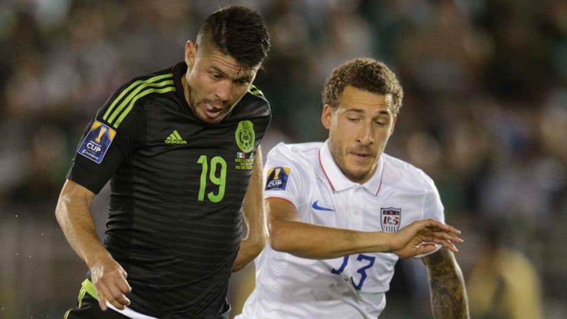 Oribe Peralta, Fabian Johnson - Mexico, USA - Close up