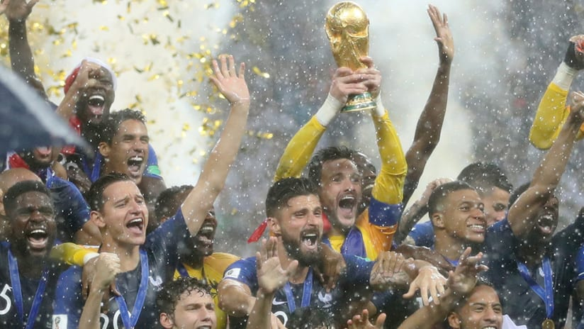 France - World Cup 2018 - lifting trophy in the rain