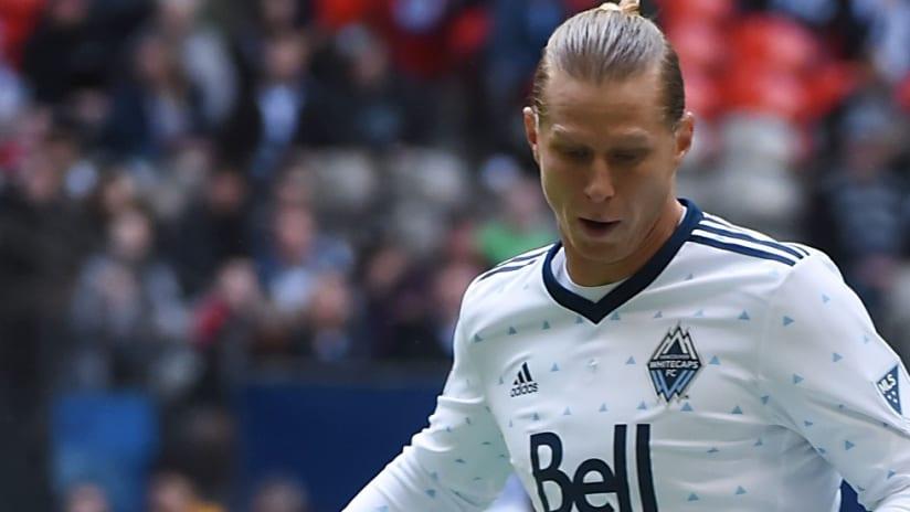 Brek Shea - Looks down while dribbling - Vancouver Whitecaps