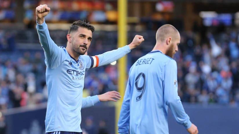 David Villa goal celebration