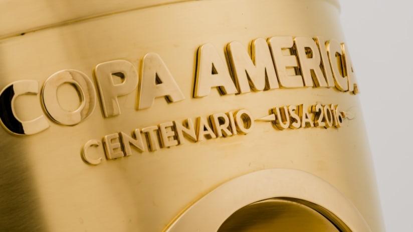 Copa América Centenario trophy title close up