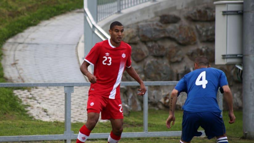 Tesho Akindele - Canada vs Azerbaijan - dribble