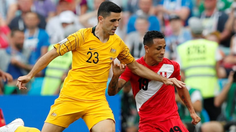 Peru's Yoshi Yotun battles with Australia during the 2018 World Cup — June 26, 2018