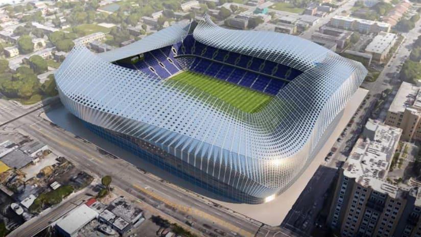 Rendering of Miami Beckham United's potential stadium design