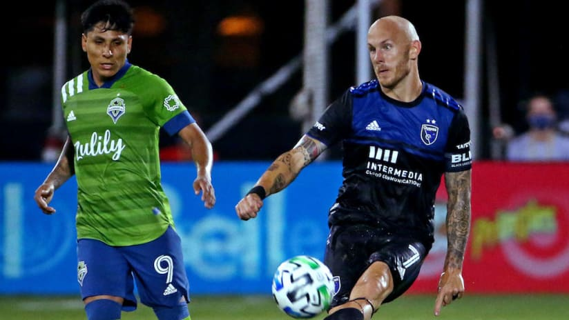 Magnus Eriksson on the ball vs. SEA at MLS is Back