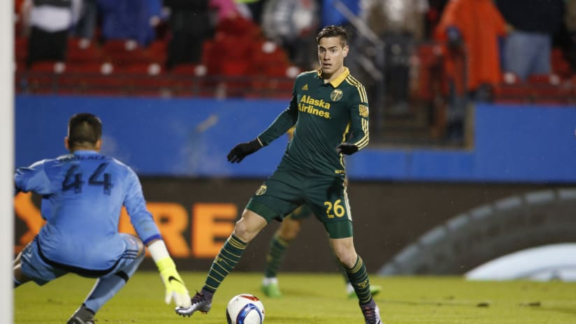 Lucas Melano scores the last goal in the MLS Cup Playoffs against FC Dallas