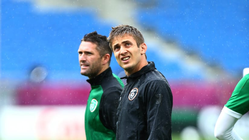 Robbie Keane and Kevin Doyle on duty with the Republic of Ireland