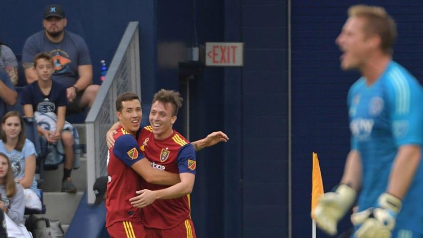 Corey Baird, Aaron Herrera, Tim Melia - Real Salt Lake celebrate goal vs. Sporting KC