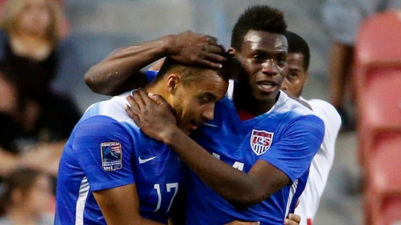 Jerome Kiesewetter and Fatai Alashe celebrate - US U-23s vs. Canada - CONCACAF Olympic Qualifying