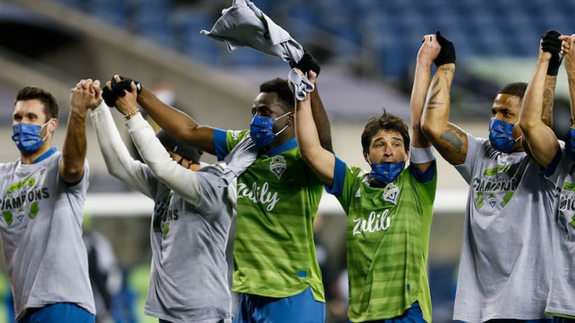 Sounders celebrate after Western Conference Final win