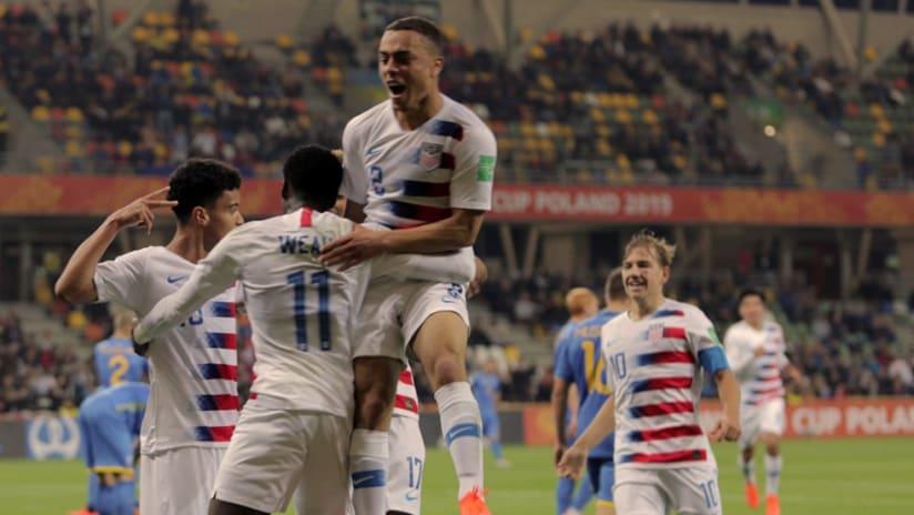 US Under-20 - Celebrate Brandon Servania goal vs. Ukraine