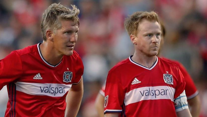 Dax McCarty, Bastian Schweinsteiger - Chicago Fire - Close up