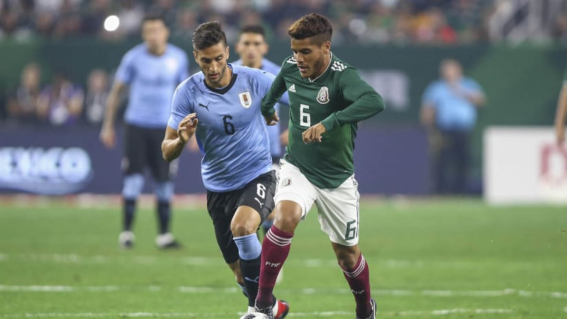 Jonathan dos Santos - LA Galaxy - in action for Mexico vs. Uruguay