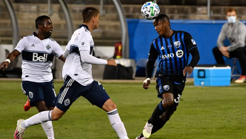 Romell Quioto - Montreal Impact - heads the ball - Vancouver Whitecaps
