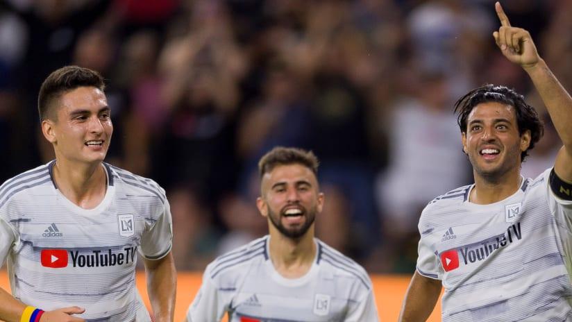 Carlos Vela, Eduard Atuesta and Diego Rossi celebrate - LAFC