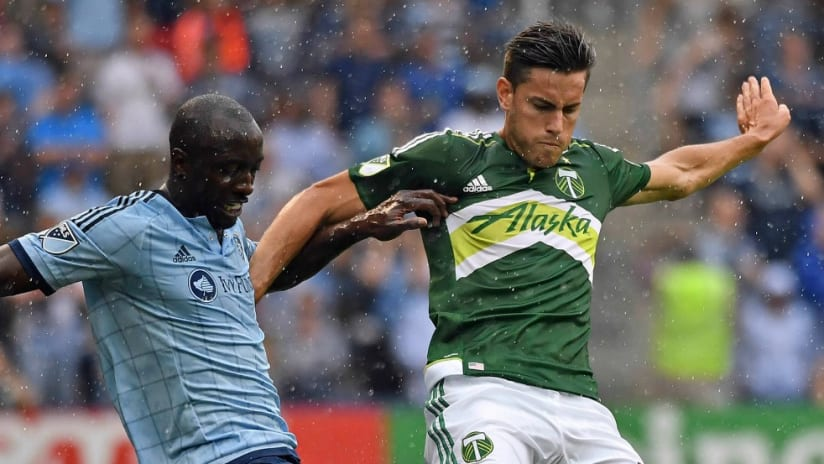 Lawrence Olum, Lucas Melano - Sporting Kansas City, Portland Timbers - battle in the rain