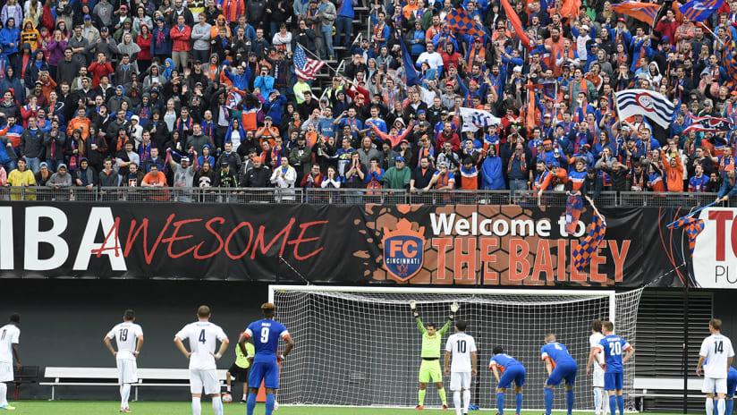 FC Cincinnati supporters - behind the goal on a PK