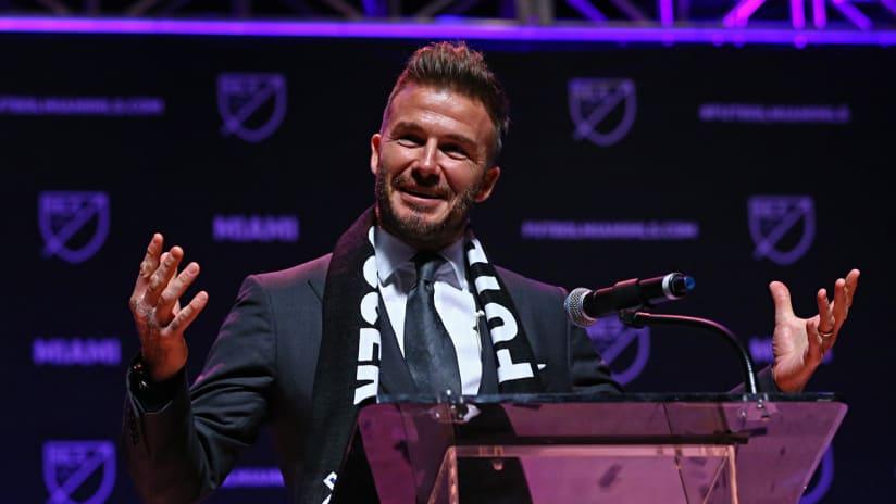 David Beckham - speaks at Miami MLS anonuncement